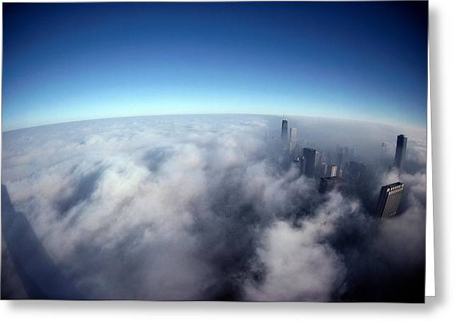 John Hancock Tower Greeting Cards - A Shadow Of The Sears Tower Slants Greeting Card by Steve Raymer