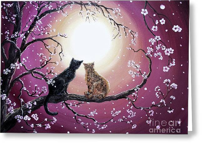 Black Cat Fantasy Greeting Cards - A Shared Moment Greeting Card by Laura Iverson