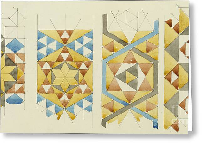 A Sheet Of Studies Of Mosaic Bands, Orvieto Cathedral, 1891 Greeting Card