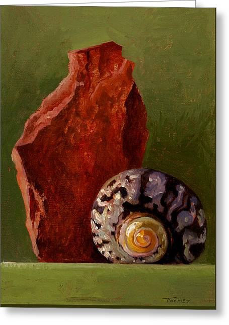 A Shell And Rock Conversation Greeting Card by Catherine Twomey