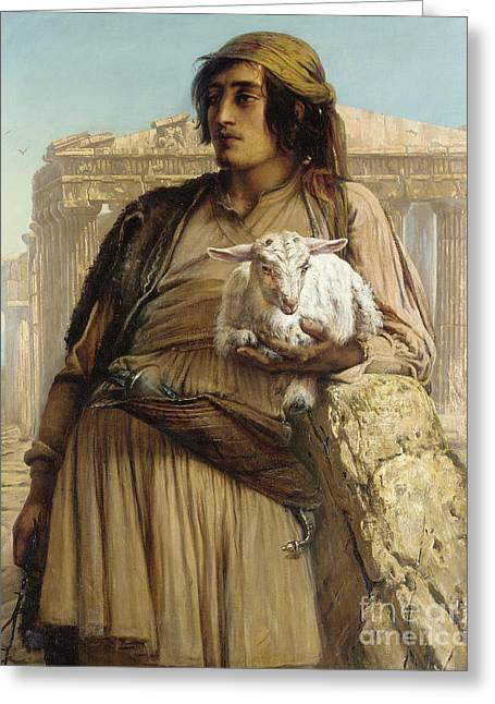 A Shepherd Boy Standing Before The Parthenon Greeting Card