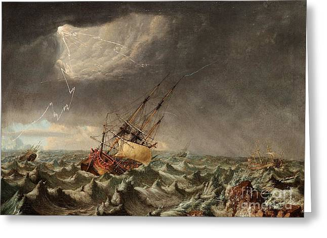 A Ship In Storm Greeting Card by MotionAge Designs