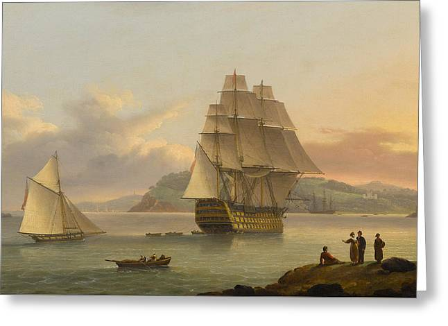 A Ship Of The Line Off Plymouth Greeting Card by Thomas Luny