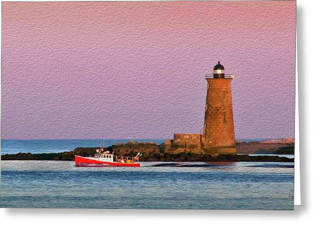A Ship Passes The Super Moon And Whaleback Greeting Card