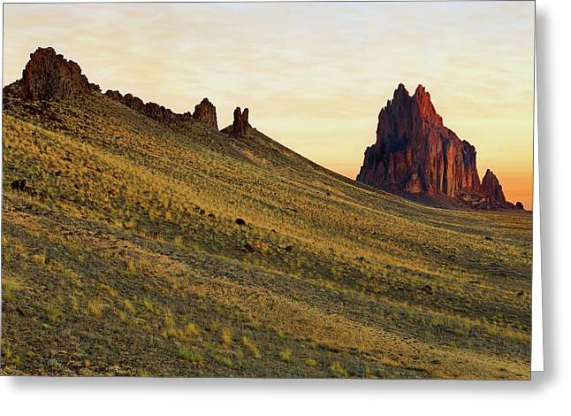 A Shiprock Sunrise - New Mexico - Landscape Greeting Card by Jason Politte