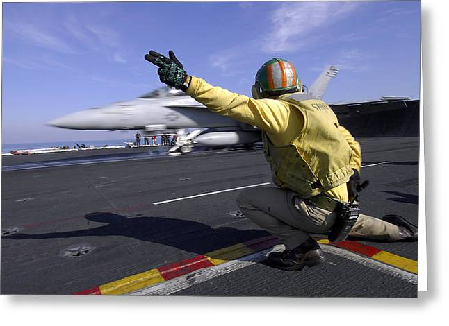 Carrier Greeting Cards - A Shooter Signals The Launch Of An Greeting Card by Stocktrek Images