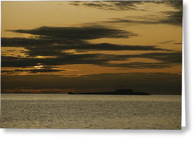 Chromatic Photographs Greeting Cards - A Silhouetted Russian Submarine Greeting Card by James P. Blair