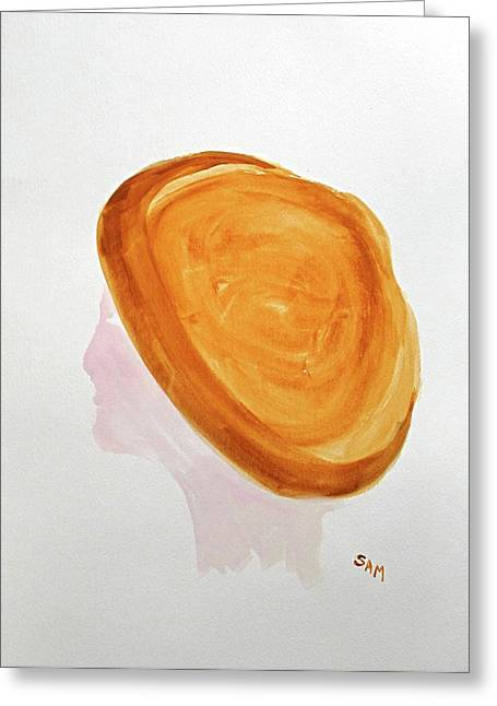 Greeting Card featuring the painting A Simple Hat by Sandy McIntire
