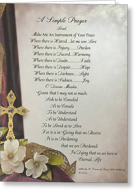 A Simple Prayer For Peace By St. Francis Of Assisi Greeting Card by Desiderata Gallery