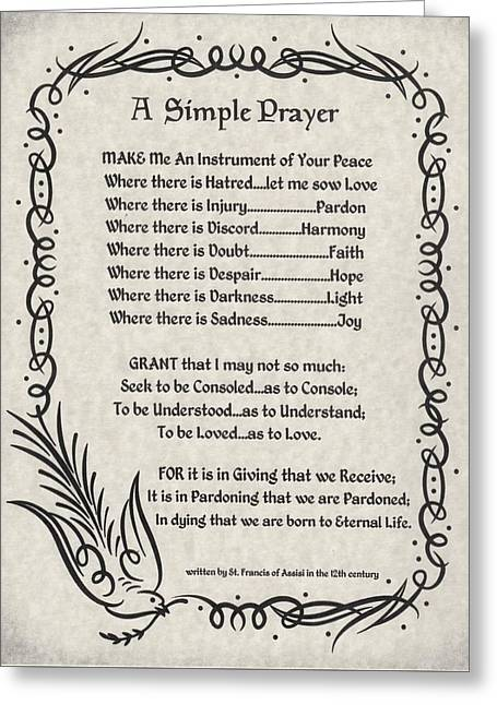 A Simple Prayer For Peace By St. Francis Of Assisi On Parchment Greeting Card by Desiderata Gallery