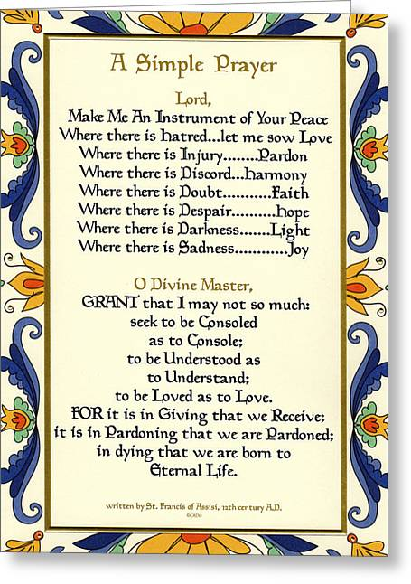 A Simple Prayer For Peace By St. Francis Of Assisi With Deruta Italian Border  Greeting Card