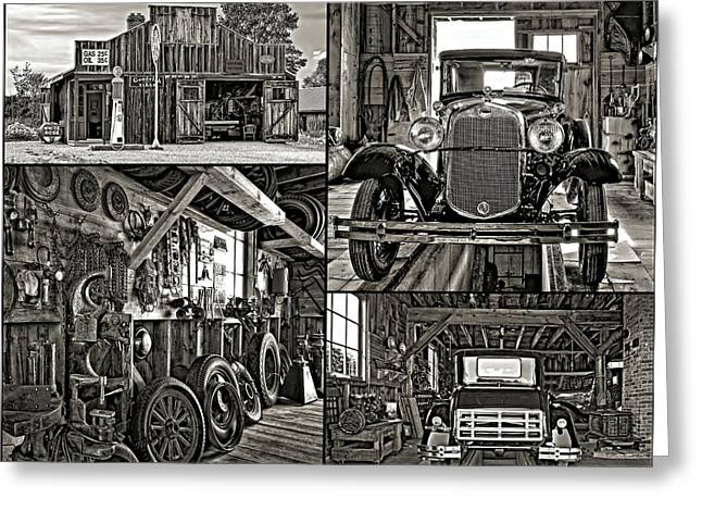 A Simpler Time - Collage Bw Greeting Card