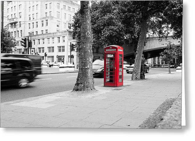 A Single Red Telephone Box On The Street Bw Greeting Card