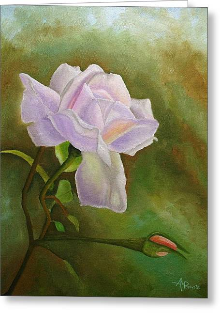 Greeting Card featuring the painting A Single Rose by Angeles M Pomata