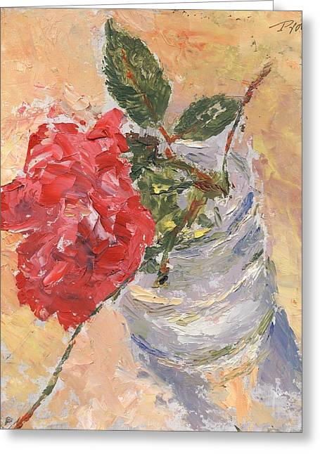 A Single Rose Greeting Card by Horacio Prada