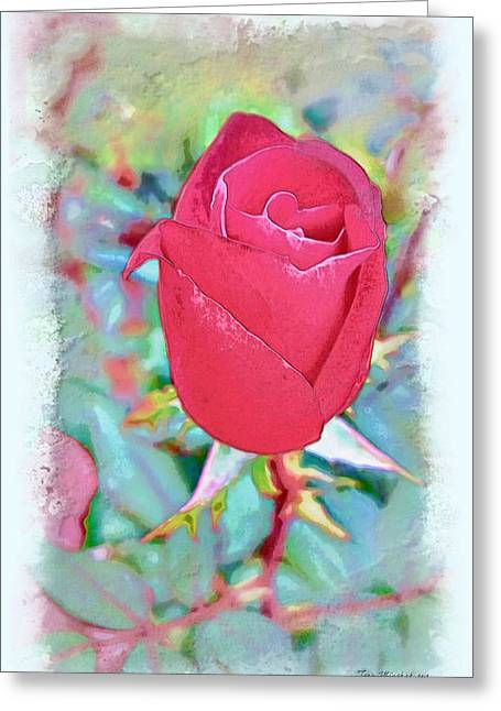 Greeting Card featuring the photograph A Single Rose In October by Joan  Minchak