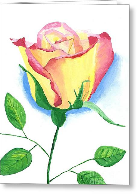 Greeting Card featuring the painting A Single Rose by Rodney Campbell