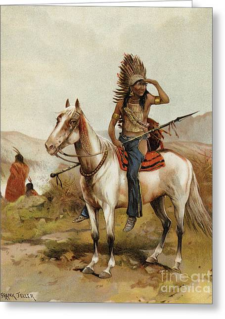 A Sioux Indian Chief Greeting Card by Frank Feller