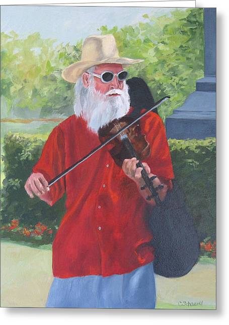 A Slim Fiddler For Peace Greeting Card