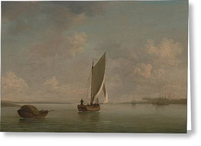 A Smack Under Sail In A Light Breeze In A River Greeting Card by Charles Brooking