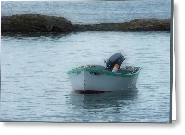 Greeting Card featuring the photograph A Small Boat In Casco Bay by Guy Whiteley