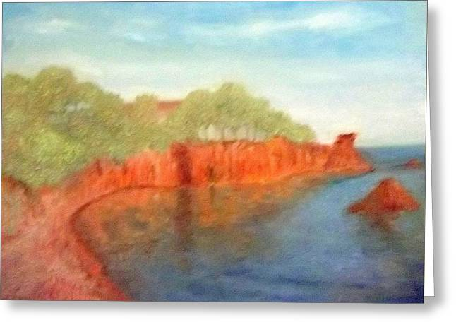 A Small Inlet Bay With Red Orange Rocks Greeting Card