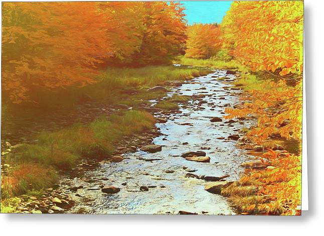 A Small Stream Bright Fall Color. Greeting Card