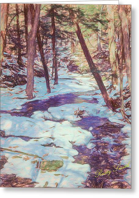A Small Stream Meandering Through Winter Landscape. Greeting Card