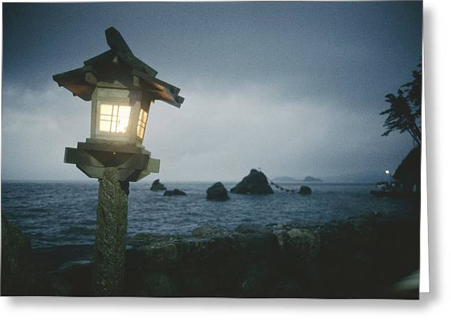 A Small Wooden Lantern Looks Greeting Card by Luis Marden