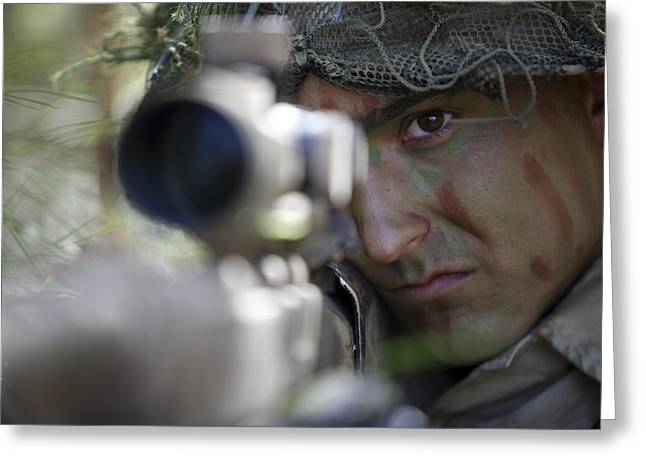 On The Lookout Greeting Cards - A Sniper Sights In On A Target Greeting Card by Stocktrek Images