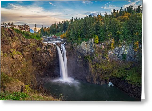A Snoqualmie Falls  Autumn Greeting Card by Ken Stanback