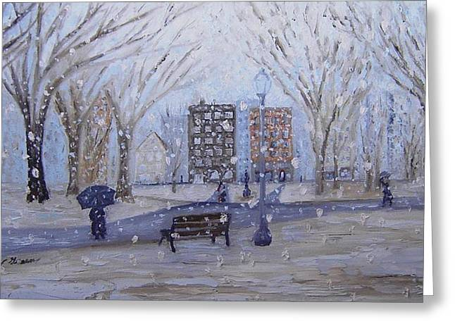 A Snowy Afternoon In The Park Greeting Card by Daniel W Green