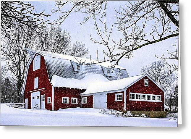 A Snowy Day At Grey Ledge Farm Greeting Card