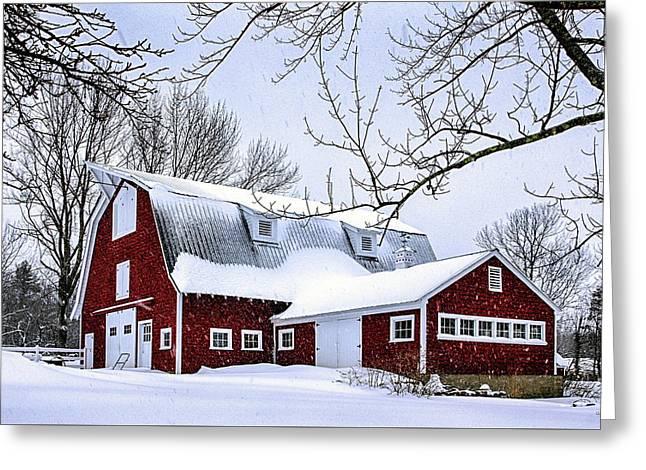 A Snowy Day At Grey Ledge Farm Greeting Card