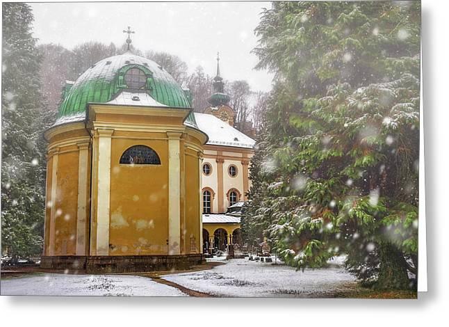 A Snowy Day In Salzburg Austria  Greeting Card by Carol Japp