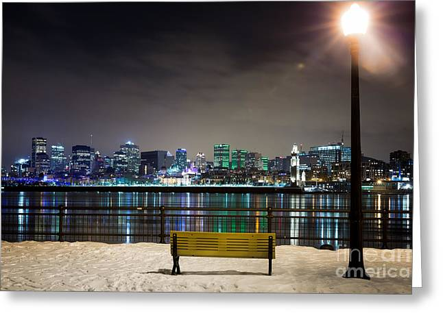 A Snowy Night In Montreal  Greeting Card