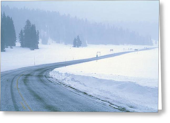 A Snowy Route 14, Near Cedar Breaks Greeting Card by Panoramic Images