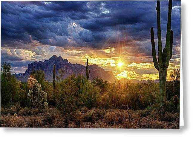 A Sonoran Desert Sunrise - Square Greeting Card