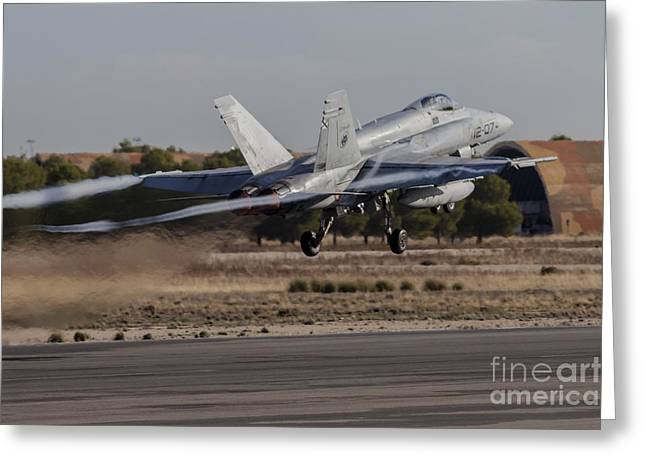 A Spanish Air Force F-18m Hornet Taking Greeting Card by Timm Ziegenthaler