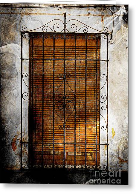 A Spanish Window Greeting Card by Clare Bevan