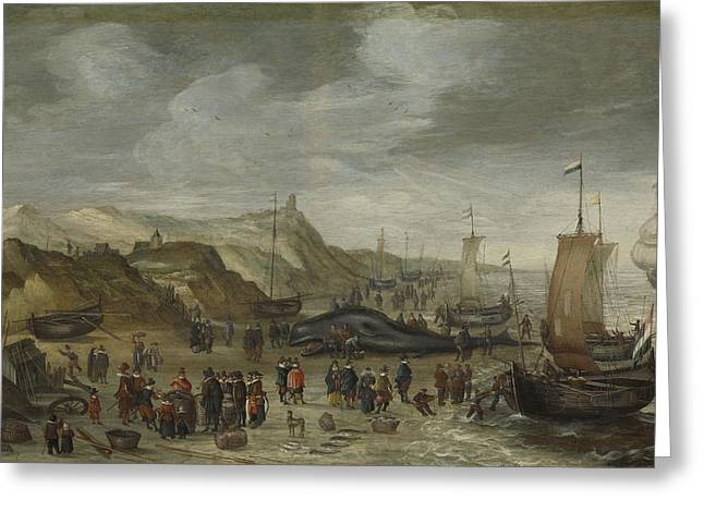A Sperm Whale Washed Up On The Beach At Noordwijk, 28 December 1614, Hans Savery , 1614 - 1626 Greeting Card by Celestial Images
