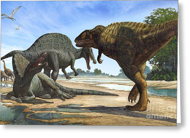 A Spinosaurus Blocks The Path Greeting Card by Sergey Krasovskiy