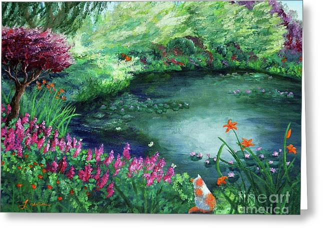 A Spring Day In The Garden Greeting Card by Laura Iverson