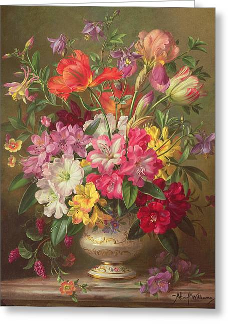 A Spring Floral Arrangement Greeting Card by Albert Williams