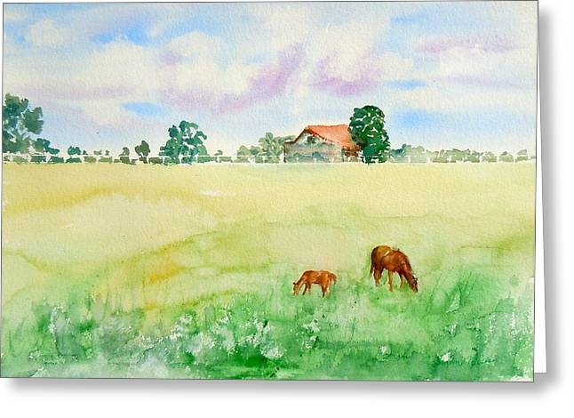 A Spring Graze Greeting Card by Sharon Mick