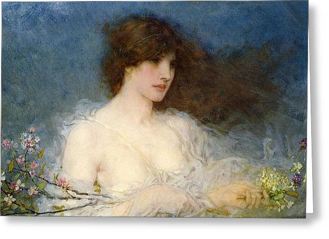 Personification Greeting Cards - A Spring Idyll Greeting Card by George Henry Boughton