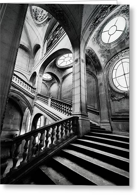 A Stairwell In The Louvre, Paris Greeting Card