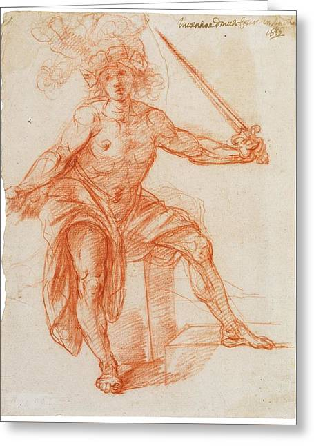 A Standing Male Figure, Brandishing A Sword Greeting Card