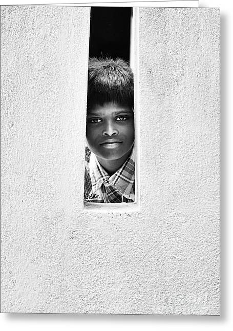 A Stare Greeting Card by Tim Gainey