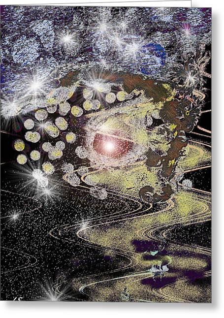 A Stary Night Galaxy Greeting Card by Linda Sannuti